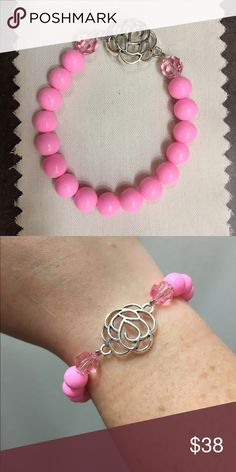 Handmade bubblegum pink beaded rose stack bracelet Handmade bracelets in bubblegum pink & silver rose and peach & orange. Made with stretchy elastic. One size fits most wrists. $10 each or 2 for $15! Choose which one you want in the 'size' category. handmade Jewelry Bracelets