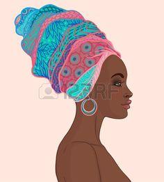 Portrait of beautiful African woman in turban (profile view)