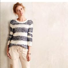 """Anthropologie Tabitha Eyelash Pullover Sweater XS. Tabitha Eyelash Pullover Sweater. XS. 65% cotton, 21% acrylic, 14% nylon. 23 3/8"""" base of neck to bottom hem. $128 MSRP. Excellent condition!  By Tabitha Cotton, acrylic, nylon Fuzzy rugby stripes Dry clean Imported Style No. 411401512574 Line thru inside tag to prevent store returns Anthropologie Sweaters"""