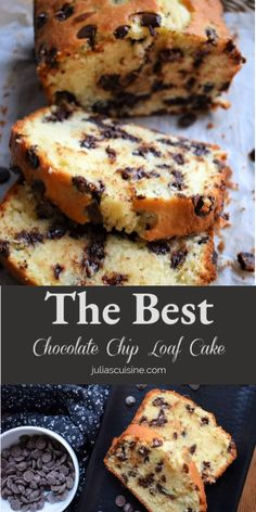 A quick and easy dessert or snacking cake the whole family will enjoy. My teens have been enjoying this Chocolate Chip Loaf Cake their whole lives. Easy to make and tastes great! Chocolate Chip Loaf Recipe, Chocolate Chip Pound Cake, Desserts With Chocolate Chips, Chocolate Chip Muffins, Quick Easy Desserts, Easy Baking Recipes, Delicious Desserts, Dessert Recipes, Quick Cake