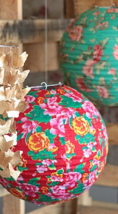 Floral World Lantern at Threadsence. Chinese Lanterns, Idee Diy, Paper Lanterns, Solar Lanterns, Chinese New Year, Just In Case, Floral, Christmas Bulbs, Balloons