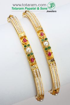 22K Fine Gold Pearls Bangle with Ruby & Emerald - Set of  2(1 Pair).