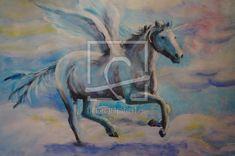 geflügeltes Einhorn Moose Art, Painting, Animals, Drawing Pictures, Print To Canvas, Pastel Colors, Magical Creatures, Unicorn, Idea Paint