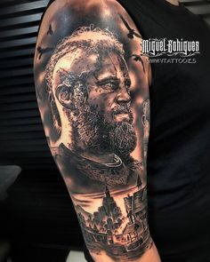 Viking Tattoo Sleeve, Wolf Tattoo Sleeve, Wolf Tattoos Men, 3d Tattoos, Skull Tattoos, Vikings Ragnar, Panzer Tattoo, Viking Warrior Tattoos, Arte Viking