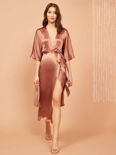 This is a sleeveless, midi length dress with a ruffle edged neckline and elastic at the bodice. Silky Dress, Silk Midi Dress, Kimono Dress, Dress Up, Lace Dress, Satin Dresses, Elegant Dresses, Prom Dresses, Dresses With Sleeves