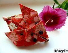 Rabbit Origami Brooche Red Rabbit Brooche  Paper by MarysaArt