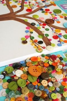 The Best DIY and Decor: Button Tree Art