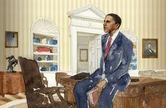 Portrait of Barack Obama by Mioko Mochizuki