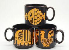 3 VINTAGE ROYAL ALMA STAFFORDSHIRE IRONSTONE ANIMAL COFFEE CUP MUG UNUSED NOS UK