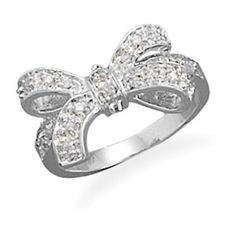 0.03ct Sterling Silver Round Cut Clear Cubic Zirconia Bow Ring #affinityengagementjewels #Bow Ring #(M-026VA75251512P) other sellar listing