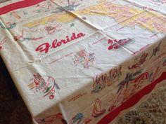"Vintage Florida Tablecloth-Florida Kitsch-State Map-Landmarks-Cotton- 46"" by 48""-Flamingos-"