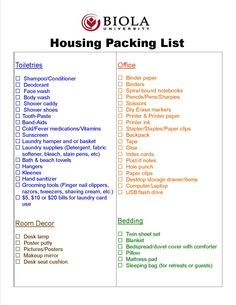 "Biola Housing's Official ""Packing List"""