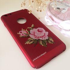 Iphone 6 plus bordo telefon kılıfı Cross Stitching, Cross Stitch Embroidery, Hand Embroidery, Cross Stitch Patterns, Palestinian Embroidery, Diy Case, Mini Cross Stitch, Mobile Cases, Needlework