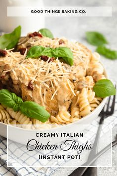These Creamy Italian Instant Pot Chicken Thighs are the dinner recipe you've been waiting for! They're full of flavor and on the table in less than an hour! Tart Crust Recipe, Creamy Italian Chicken, Sweet Pastries, Dried Beans, Sweet Tarts, Air Fryer Recipes, Chicken Thighs, Pressure Cooking, Love Food
