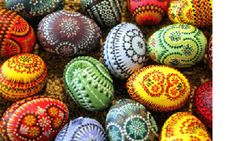Pisanica - Croatian/Slavic Easter Eggs.  Many variations in spelling of word and design of painting all over Eastern Europe.