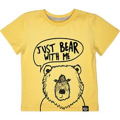 Mini boys yellow bear with me print t-shirt