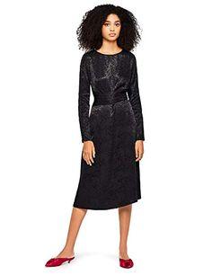 FIND Leopard Jacquard Wrap Vestido, Negro (Black), 36 (Talla del Fabricante: X-Small) amazon-brands el-negro