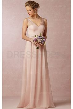 Pearl Pink Chiffon V-neck A-line Floor-length Bridesmaid Dresses - Long bridesmaid dresses - Bridesmaid Dresses - Wedding Party Dresses - Dresshop.com.au