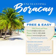 Contact me for bookings. Boracay Philippines, Round Trip, Enchanted, Environment, Tours, Hotels, Travel, Viajes, Destinations
