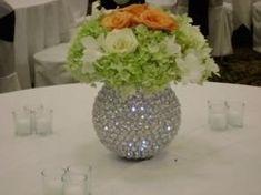 Pearl Centerpiece, Rustic Wedding Centerpieces, Candle Centerpieces, Wedding Flower Arrangements, Wedding Decorations, Centerpiece Ideas, Wedding Bottles, Crystal Ball, Diy Wedding