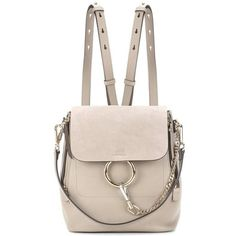 Chloé Faye Leather and Suede Backpack (8 590 PLN) ❤ liked on Polyvore featuring bags, backpacks, purses, grey, leather backpacks, leather rucksack, grey suede bag, grey backpack and gray leather backpack
