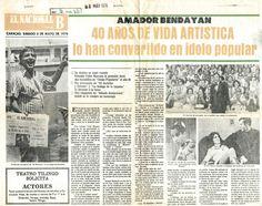 40 años de carrera de Amador Bendayán. Publicado el 8 de mayo de 1976.