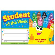 Trend Enterprises Student of The Week Crayons Recognition Awards Pack Piece), x English Activities, Work Activities, Student Of The Week, Student Life, Kids Awards, Student Rewards, Star Of The Week, Star Students, Teacher Stickers