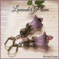LAVENDER PLUM Lucite Lily Flower Earrings Victorian Earrings