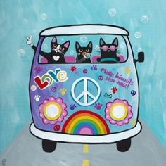 Rainbow Hippies VW Peace Bus Original Cat Folk by KilkennycatArt Crazy Cat Lady, Crazy Cats, I Love Cats, Cool Cats, Art And Illustration, Illustrations, Kombi Hippie, Maurice Careme, Here Kitty Kitty