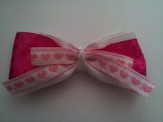 Pink Love Bow Clip by PeaceLoveAndRibbon on Etsy, $3.15