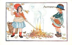 Vintage children's book illustration; Autumn