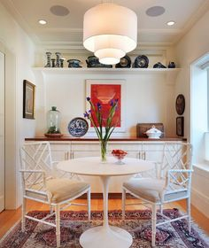 Dining Room: Transitional Dining Room With White Chinese Bamboo Chairs And Round Saarinen Dining Table Also Bistro Table For Kitchen Design Ideas: Stylish Saarinen Tulip Table Design for Perfect Family Dinner