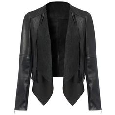 SheIn(sheinside) Black Contrast PU Leather Tassel Crop Jacket (110 PEN) ❤ liked on Polyvore featuring outerwear, jackets, blazers, coats, casacos, black, cropped jackets, pu jacket, short-sleeve blazers and polyurethane jacket