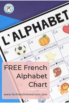 Make it easier for your French students to remember the alphabet by using this FREE French alphabet chart. You can use it as a poster in the classroom or print copies for each student. A simple but effective learning tool, this chart comes in different versions: with images to represent each letter (initial letter) and with or without words to support understanding. There are versions with two images for the letter C and G (dur and doux), and more! C'est l'alphabet en français. French Teaching Resources, Teaching French, Learning Tools, Student Learning, Sons Initiaux, French Alphabet, Core French, Alphabet Charts, Effective Learning
