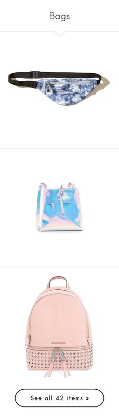 """Bags"" by xrated-trends ❤ liked on Polyvore featuring bags, blue, plastic piping bags, snap bag, fanny pack bags, zip bag, waist fanny pack, handbags, shoulder bags and hologram"
