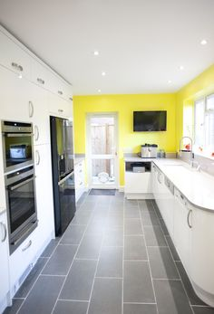 A beautiful White Gloss Curved Kitchen which has been brightened up with sunny yellow walls! German Kitchen, Bespoke Kitchens, Yellow Walls, Kitchen Design, Beautiful, Design Of Kitchen