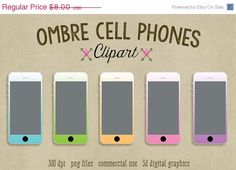 70% OFF SALE Ombre Cell Phone Clipart by ScubamouseStudiosJr