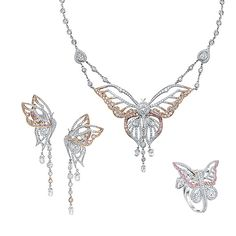 The Papillion collection conveys the fragile majesty of the butterfly. Adorned with pink and white diamonds, the delicate openwork setting is brought to life by quivering diamond briolette drops suggesting the fluttering of flight. The life and spirit of the natural world is translated through each creation within this collection.