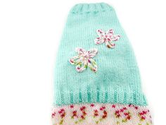 Christmas in July Small  dog clothes knitted Sweaters for Cats and dogs in Mint green and   multi Pinks with hand embroidered flowers by CUTIEDOG on Etsy