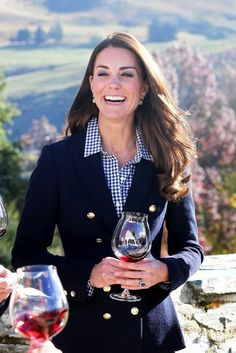 Who wouldn't be happy drinking wine! Kate Middleton - The Royal Couple Tours a Winery