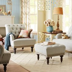 Dream room feature: An overstuffed armchair with a rolled back and arms. Love the tufting, the pinstripe and the nail head trim. #contest #pier1imports via @pier1imports