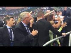 Sir Alex Ferguson celebrates with Cristiano Ronaldo after Portugal win the Euros (Video)