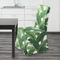 IKEA HENRIKSDAL Dining Chair Cover, Swaying Palms   affordable, designer, custom, handmade, trendy, fashionable, locally made, high quality Ikea Dining Chair, Dining Chair Covers, Leaf Prints, Palms, Slipcovers, Indoor Outdoor, Plant Leaves, Cushions, Handmade