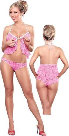 Sexy Pink Leopard Flyaway Babydoll Lingerie Set