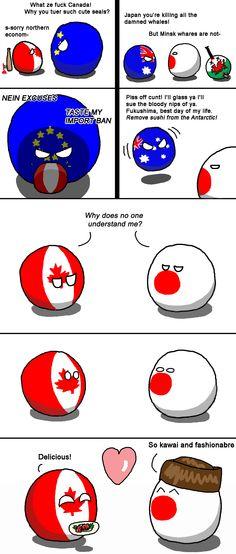 """unlikely friends"" (Canada, Japan ) by Fedcom   #polandball #countryball #flagball"