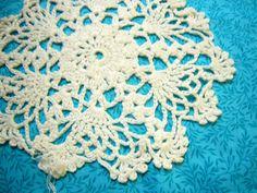 Vintage 7 inch round Hand crochet white snowflake by MarlenesAttic, $3.50