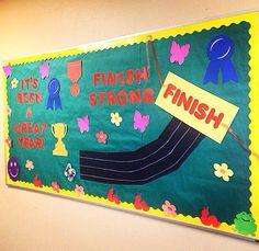 A great bulletin board for the end of the school year.  P.E. teachers could even conduct a sprinting contest & post the winners with the fastest times on the board.