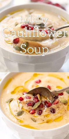 This healing holiday soup is made with nutritious, whole-foods and is free from dairy. It's gentle on the system, but tastes absolutely amazing! Made with cauliflower, this easy homemade recipe is perfect for Christmas dinner! Vegan and gluten-free. Fall Recipes, Whole Food Recipes, Dessert Recipes, Cooking Recipes, Holiday Recipes, Vegetarian Recipes, Healthy Recipes, Vegan Recipes Videos, Healthy Soup
