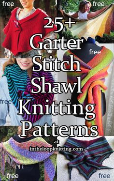 Knitting patterns for shawls knit all or mostly with garter stitch including variations like colorfuly striped shawls, hooded shawls, and clever short row shaped shawls. Vogue Knitting, Knitting Books, Loom Knitting, Knitting Stitches, Outlander Knitting, Easy Scarf Knitting Patterns, Prayer Shawl Patterns, Animal Knitting Patterns, How To Purl Knit