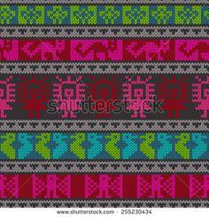 Seamless vector pattern, traditional peruvian knitting design.